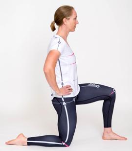 Hip flexor stretch -Tuck pelvis under to focus on hip attachment